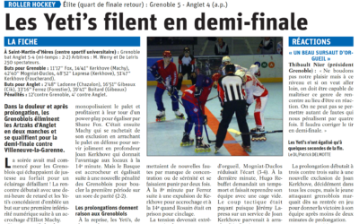 Les Yeti's filent en demi-finale