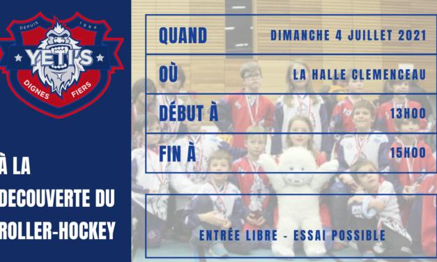 Dimanche 4 juillet 2021 de 13h00 à 15h00 venez découvrir le roller et le roller-hockey avec le club des Yeti's Grenoble